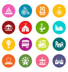 amusement park icons set colorful circles vector image