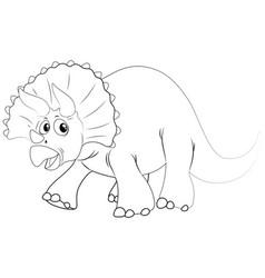 Animal outline for dinosaur with sharp horns vector