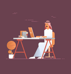 Arab business man using laptop computer muslim vector