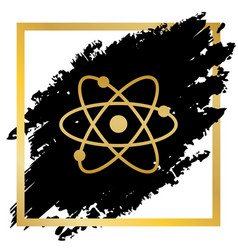 atom sign golden icon at vector image