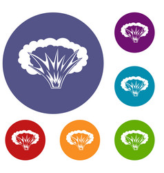 Atomical explosion icons set vector