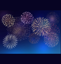background with colorful fireworks vector image