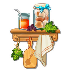 bank with honey eggs cutting board towel vector image
