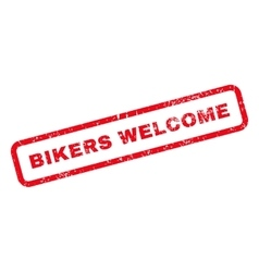 Bikers Welcome Text Rubber Stamp vector