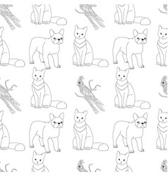 black and white seamless pattern with pets vector image