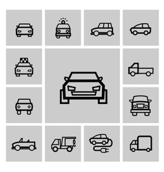 Black auto icon set vector