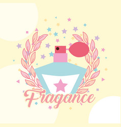 Bottle fragrance aroma for girl emblem vector