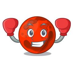 Boxing mars planet character cartoon vector