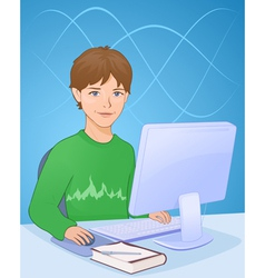Boy with computer vector image