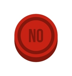 Button no in circle icon flat style vector