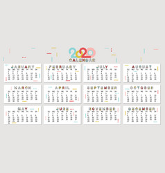 calendar 2020 modern style for diaryposter vector image