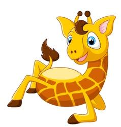 Cartoon giraffe lie down vector