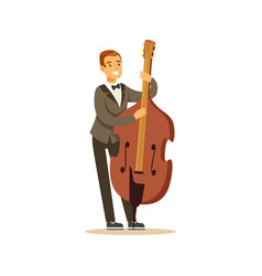 Cellist man playing classical music on cello vector