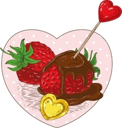 Chocolate Covered Strawberries and Hearts vector