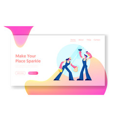 cleaning service website landing page male and vector image