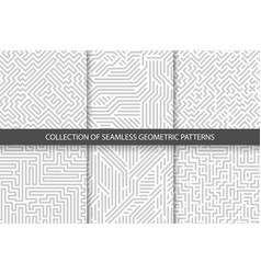 Collection of striped seamless geometric patterns vector