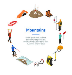 color mountaineering signs 3d banner card circle vector image