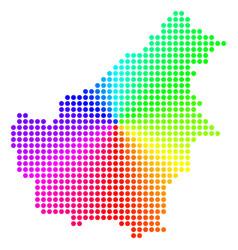 Colored sphere dot borneo island map vector
