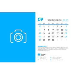 Desk calendar template for september 2020 week vector