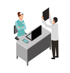 Doctor with xray and nurse in the consultation vector