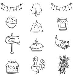 Doodle of thanksgiving set element vector