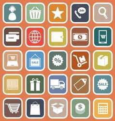 E commerce flat icons on orange background vector