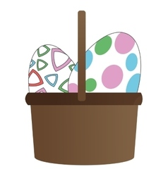 easter egg in basket icon vector image
