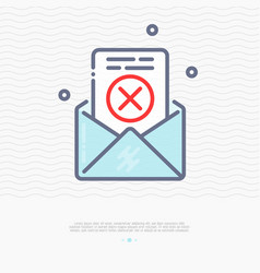 envelope with rejected document thin line icon vector image