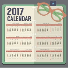 Eyeglasses On Notebook 2017 Printable Calendar vector image
