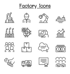 factory industrial building manufacturing icon vector image