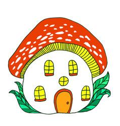 Fairytale house mushroom amanita vector