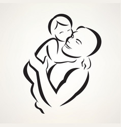 Father and baby isolated symbol vector