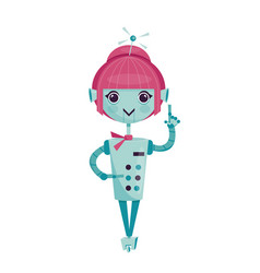 Female cartoon robot vector