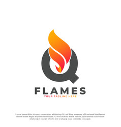 Flame with letter q logo design fire logo template vector