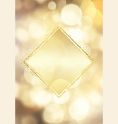 Glittery gold frame on a bokeh lights background vector