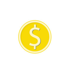 Gold dollar coin flat icon finance and business vector