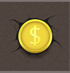 Golden dollar on cracked background vector