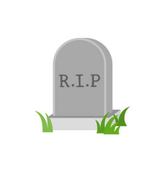Gravestone icon with green grass vector