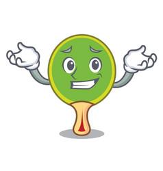 Grinning ping pong racket character cartoon vector