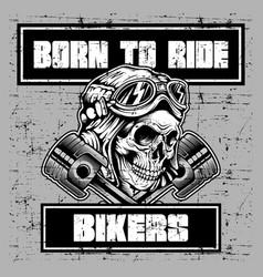 grunge style vintage skull wearing helmet retro vector image