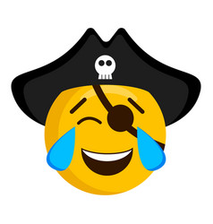 happy pirate emoji with a hat vector image