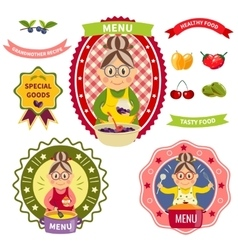 Healthy Food Menu Colorful Labels vector image