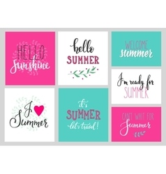 Hello summer lettering typography set vector image