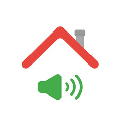 Icon concept of sound on symbol under house roof vector