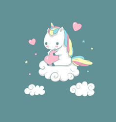 Inspiration baby unicorn on cloud love print vector