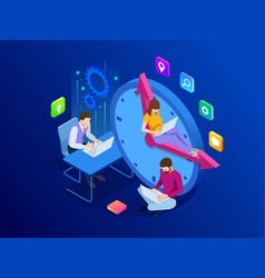 isometric effective time management concept vector image