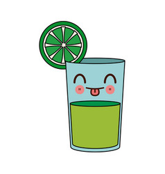 Kawaii lemon juice in a glass tropical cartoon vector