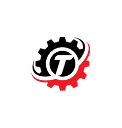 letter t gear logo design template vector image