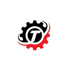 Letter t gear logo design template vector