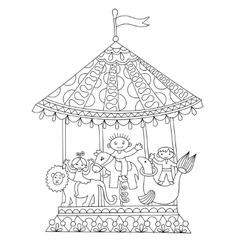 Line art of circus theme merry-go vector